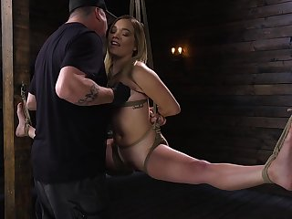 Deviating pervert is toying pussy of flexible auric babe Katie Kush