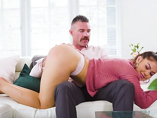 Strict daddy is spanking together with going to bed 19 yo stepdaughter Kendra Spade