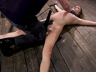 Small tittied babe Cadence Lux is crucified and toyed applicable on the floor