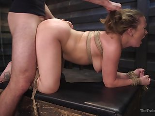 MILF roughly fucked in BDSM scenes then made to go for