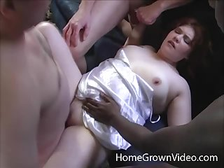 Chubby redhead wife lays on her back while men just about turns fucking her