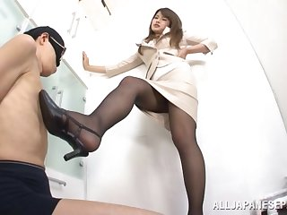 Sexy feetjob coupled with a blowjob by dear Japanese cutie Sumire