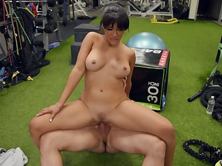 Hot brunette Kosame Dynamism endures a rough fuck vanguard gym