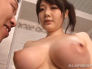Rie Tachikawa teases with her massive natural juggs + titjob