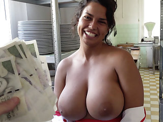 Hot cook with huge tits received to sex for holdings