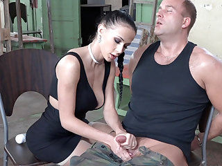 Sexy subfusc mime dick of military