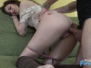 Dirty virago Piper June gets a mouthful be fitting of sperm after a hardcore pussy pounding
